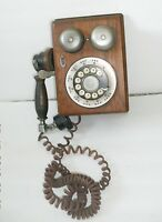 Rotary Dial WESTERN ELECTRIC SOLID OAK TELEPHONE vintage, Original cloth cord