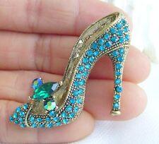 Turquoise Rhinestone Crystal High-heeled Shoes Brooch Pin Costume Jewel 05865C1