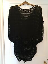 Yours Black Knitted/Crochet Over Top Size UK14