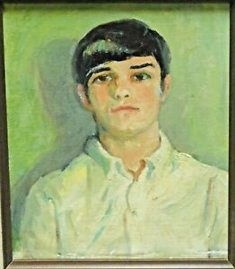 Vintage 1960s Modern Oil Painting Portrait Cute Young Man Boy Spanish Wood Frame