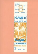 San Diego Chargers @ Miami Dolphins 1980 ticket Topps Don Strock photo Dan Fouts