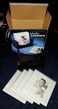 NIB!! Cherished Accents Clear Glass Photo Coasters 4 Pc w/Black Holder! NEW!