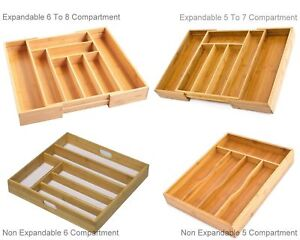 BAMBOO WOODEN EXPANDABLE CUTLERY TRAY DRAWER TIDY ORGANIZER STORAGE KITCHEN TIDY
