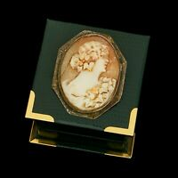Antique Vintage Art Nouveau Sterling Silver Carved Conch Shell Cameo Pin Brooch