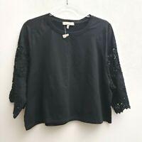 Eri + Ali Black Black Crop Top Size Large Petite 3/4 Sleeve Crochet Lace Boho