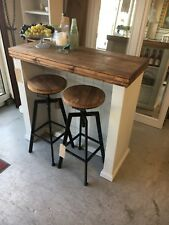 Solid Pine Kitchen Island / Bar & 2 Industrial Stools Furniture Showroom Kent