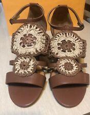 Sharon Sandal by COMFORTVIEW  Crochet Straw 40589 COGNAC Womens Size 9.5WW NEW!!