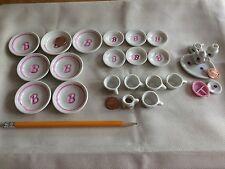 Strombecker Corp Barbie Miniature Set Rare Lot Plates Cups Porcelain 21 Pieces