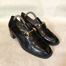 Gucci Mid-Pump Black Leather Horsebit Loafers Size 8B EU 38/39