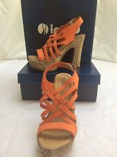 Fabulous Inblu Italian design orange, leather strappy, platform sandals sz 36/3