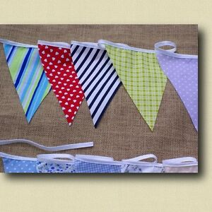 10ft FABRIC BUNTING SPOT STRIPE HEART WEDDING PARTY