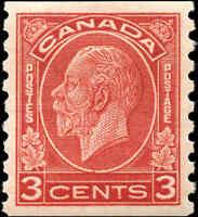 Mint Canada 3c 1933 VF Scott #207 King George V Medallion Coil Issue Hinged