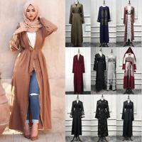 Kimono Open Cardigan Muslim Women Long Maxi Dress Islamic Abaya Kaftan Robe Gown