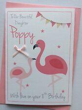 Handmade Personalised Pink Flamingo Birthday Card: Daughter Niece Sister