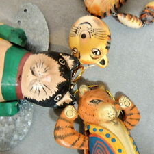 """Christmas Ornament Wood Animal Cat Movable Puppet Tabby + 7"""" Lot of 3"""