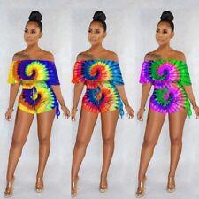 Sexy New Women Boat Neck Multicolor Tie Dye Print Slim Club Short Jumpsuit