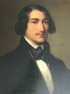 1839 BEAUTIFUL PORTRAIT of a GENTLEMAN INITIALED 'E.S.' ORIGINAL O/C FRAMED