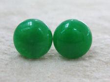 GENUINE 925 STERLING SILVER 10mm FLAT GREEN JADE STUDS EARRINGS WOMEN TEEN KID
