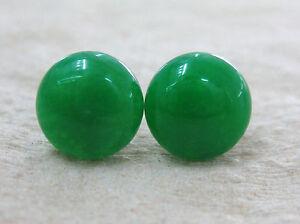 """GENUINE 925 STERLING SILVER """"10mm FLAT GREEN JADE"""" STUDS EARRINGS - GIRL WOMEN"""