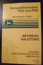 John Deere Frontmäher F925 + F935 Betriebsanleitung
