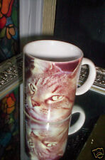 """DOROTHY HOLBY GREEN EYED KITTY  """"NO MATTER HOW MUCH CATS FIGHTS"""" MUG ~ 1993"""