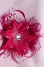 Originals, Floral Flowers Ostrich Feather Hair Clip or Brooch Pin Pink Red