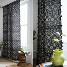 Black Curtain For Living Room Boho Tassel Curtains Window Treatment Drapes Decor