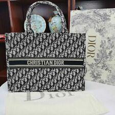Offer!Christian Dior tote book bag blue oblique embroidery bag