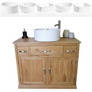 Bathroom Vanity Unit in Solid Oak Single Sink Cabinet Ceramic Basin Tap & Plug