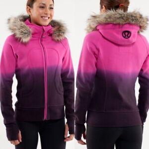 LULULEMON Special Edition Scuba Hoodie Jacket Paris Pink/Black Dip Dye Sz 4 $148