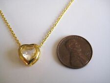 Vintage Framed Crystal Small Heart Pendant Necklace Gold Tone Dainty