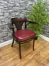 More details for heavy duty contract quality wooden red leather restaurant pub bar arm chair