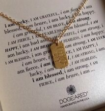 "Dogeared I Am Hopeful 32"" Long Gold Dipped Silver 925 Chain Necklace Dog Tag NIB"