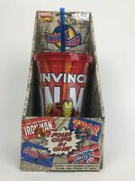 4 Marvel Comics Cups In One! Tall Plastic Drinking Cup W Straw - Rare Item ICUP