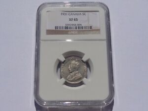 1931 CANADA GEORGE V 5 CENTS NGC XF-45 BETTER DATE! SUPER NICE! MUST SEE!!