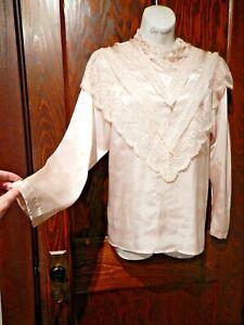 VINTAGE 80'S Victorian inspired satiny pink blouse lace cottagecore prairie M 3C