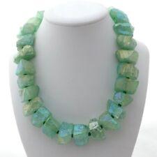 """18"""" Green Titanium Crystal Quartz Rough Nugget Necklace"""