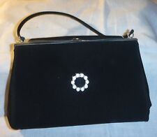 VINTAGE 30S DESIGN BUT A 50S - 60S BLACK EVENING BAG WITH DIAMANTE BY CLARKS