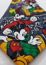 Disney Mens Neck Tie Grey Mickey Mouse Goofy Happy Music Dance Brothers Handmade