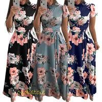 Boho Maxi Dress Women Floral Print Holiday Beach Party Sundress Kaftan Bohemian