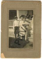 "Antique Matted Photo - FALK FAMILY, Moline, Illinois, Boy & Girl W/Hats 4""x6"""