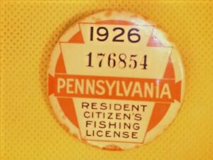 1926 PENNSYLVANIA  FISHING LICENSE VINTAGE