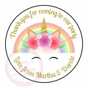 Personalised Rainbow Gold Unicorn Birthday Stickers Party Thank You Sweet Cone
