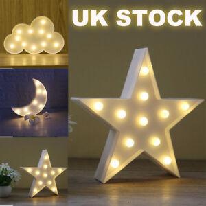 3D LED Night Light Star Moon Cloud Wall Desktop Kids Bedroom Nursery Lamp Decor