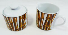 Nicole Miller White Bamboo Dinnerware Sakura Porcelain Creamer & Sugar Bowl Set