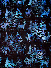 Batik Fabric - Deer Pine Trees Scenic Hoffman Indonesian 2660 Blue Black - YARD
