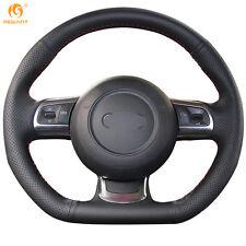 Black Genuine Leather Steering Wheel Cover Wrap for Audi TT 2008-2013