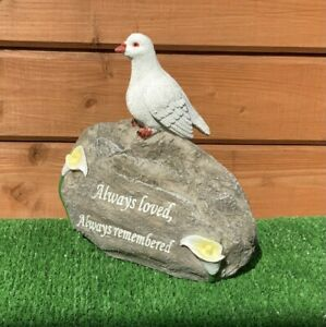 Dove Of Peace On Stone With Verse and Lily Grave Cemetery Memorial Ornament