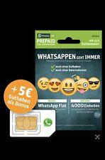 WhatsApp Sim e-plus/o2 Prepaidkarte UVP 10?,Guthaben im Wert von 15 ?, 4GB Daten