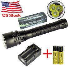 Diving Flashlight Underwater 100m 10000LM XM-L2 3 LED Scuba Torch 18650 Charger